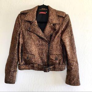 ALICE + Olivia Metallic Tweed Moto Jacket size XS